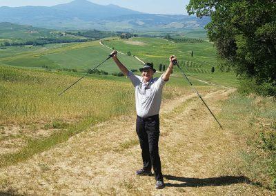 climbing a Tuscan hill