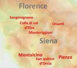 map of 1 day tours in Tuscany