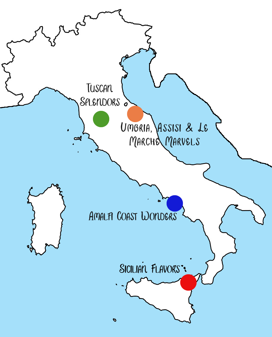 walk about italy tour map