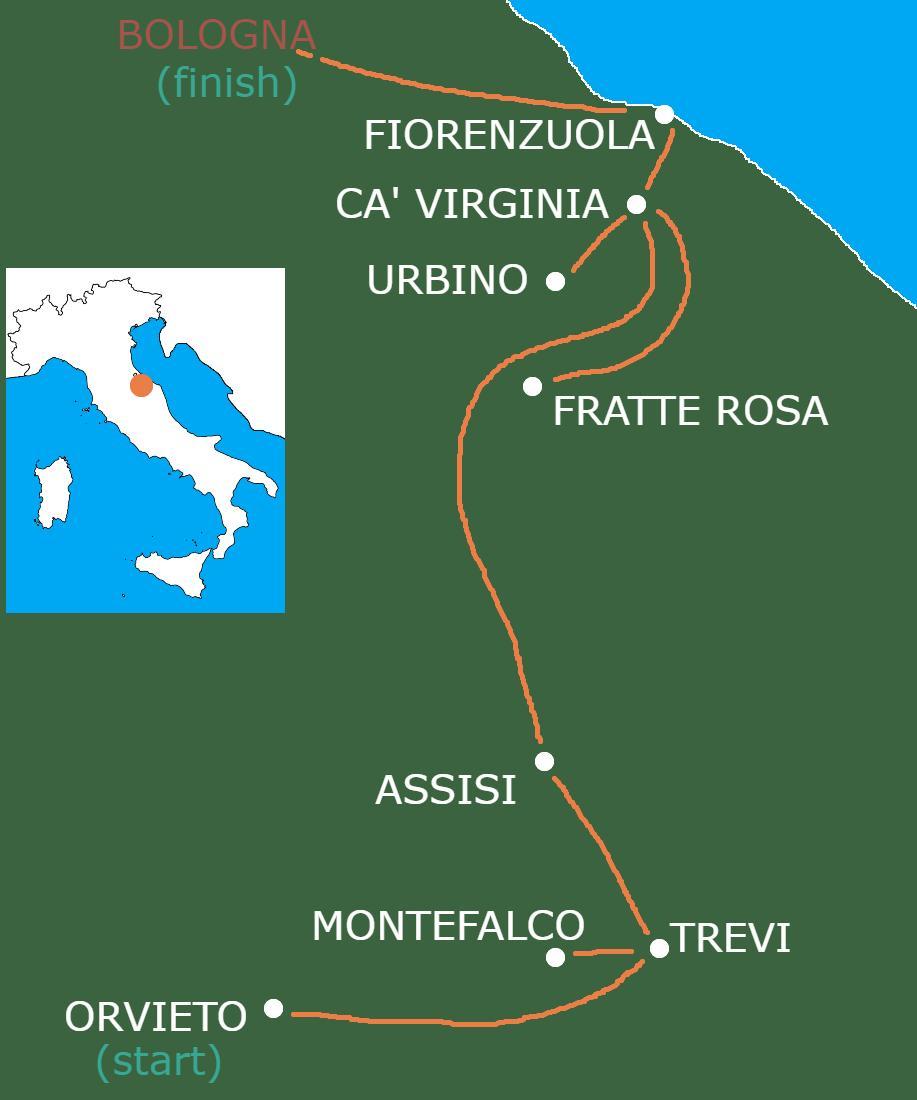 Umbria, Assisi & Le Marche Marvels map